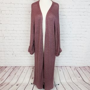 Forever 21+ Heather Mauve Knit Duster Cardigan